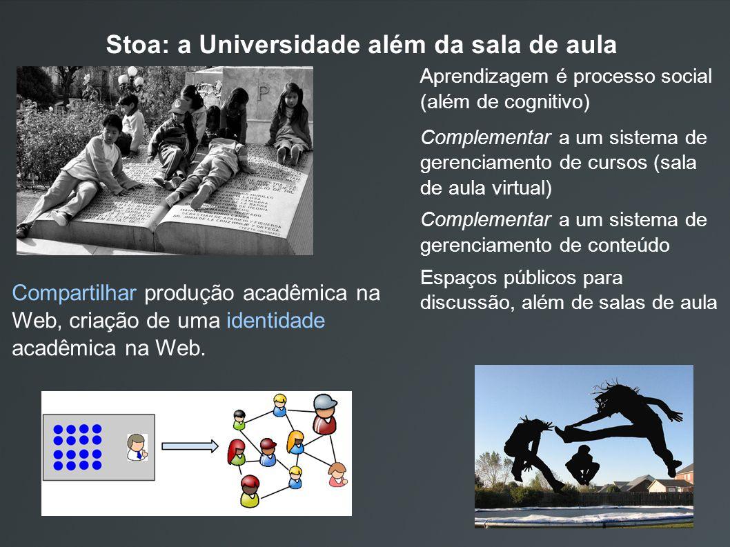 Stoa: a Universidade além da sala de aula Aprendizagem é processo social (além de cognitivo) Complementar a um sistema de gerenciamento de cursos (sala de aula virtual) Complementar a um sistema de gerenciamento de conteúdo Espaços públicos para discussão, além de salas de aula Compartilhar produção acadêmica na Web, criação de uma identidade acadêmica na Web.