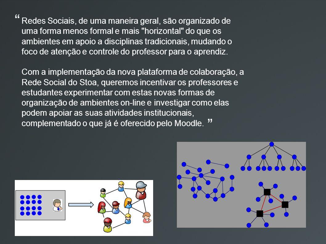 Redes Sociais, de uma maneira geral, são organizado de uma forma menos formal e mais horizontal do que os ambientes em apoio a disciplinas tradicionais, mudando o foco de atenção e controle do professor para o aprendiz.