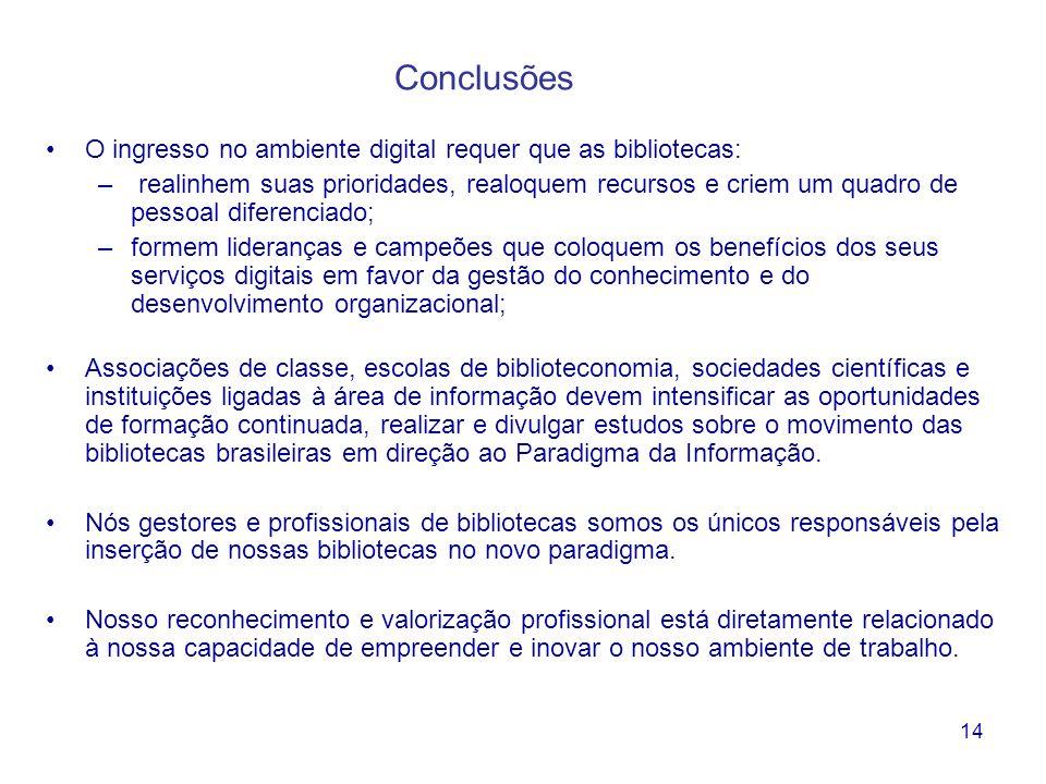 14 Conclusões O ingresso no ambiente digital requer que as bibliotecas: – realinhem suas prioridades, realoquem recursos e criem um quadro de pessoal