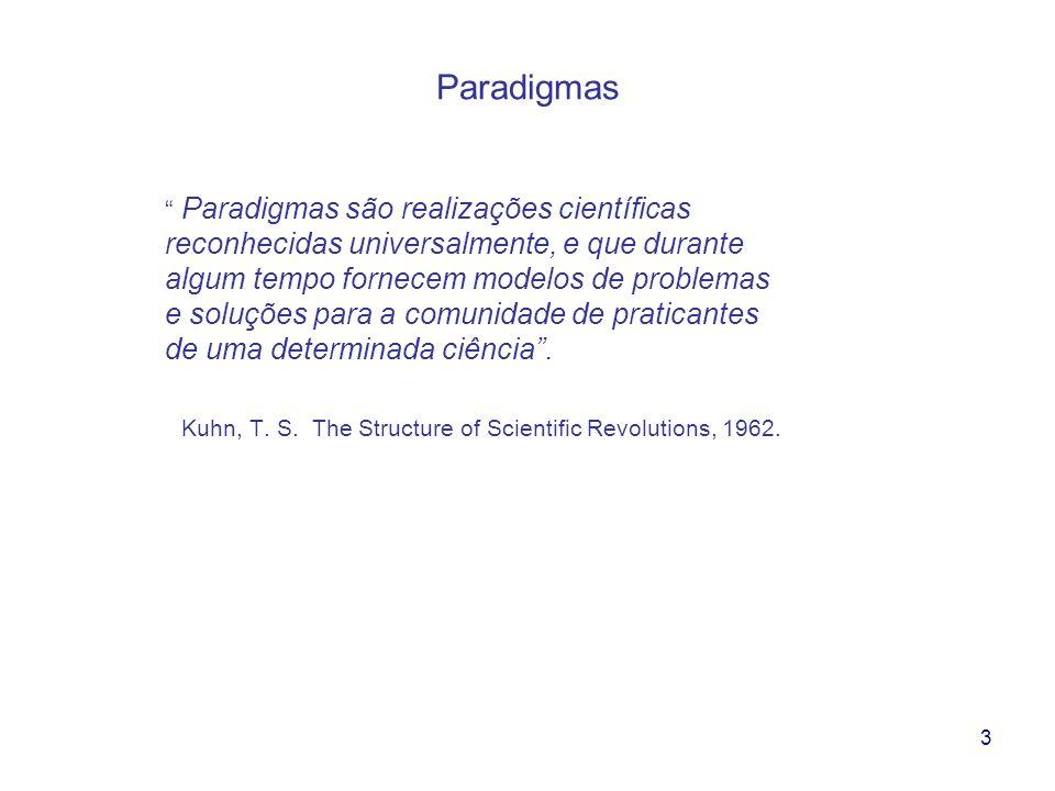 3 Paradigmas Paradigmas são realizações científicas reconhecidas universalmente, e que durante algum tempo fornecem modelos de problemas e soluções pa