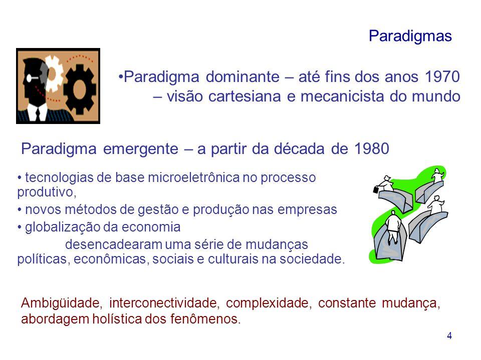 4 Paradigmas Paradigma dominante – até fins dos anos 1970 – visão cartesiana e mecanicista do mundo tecnologias de base microeletrônica no processo pr