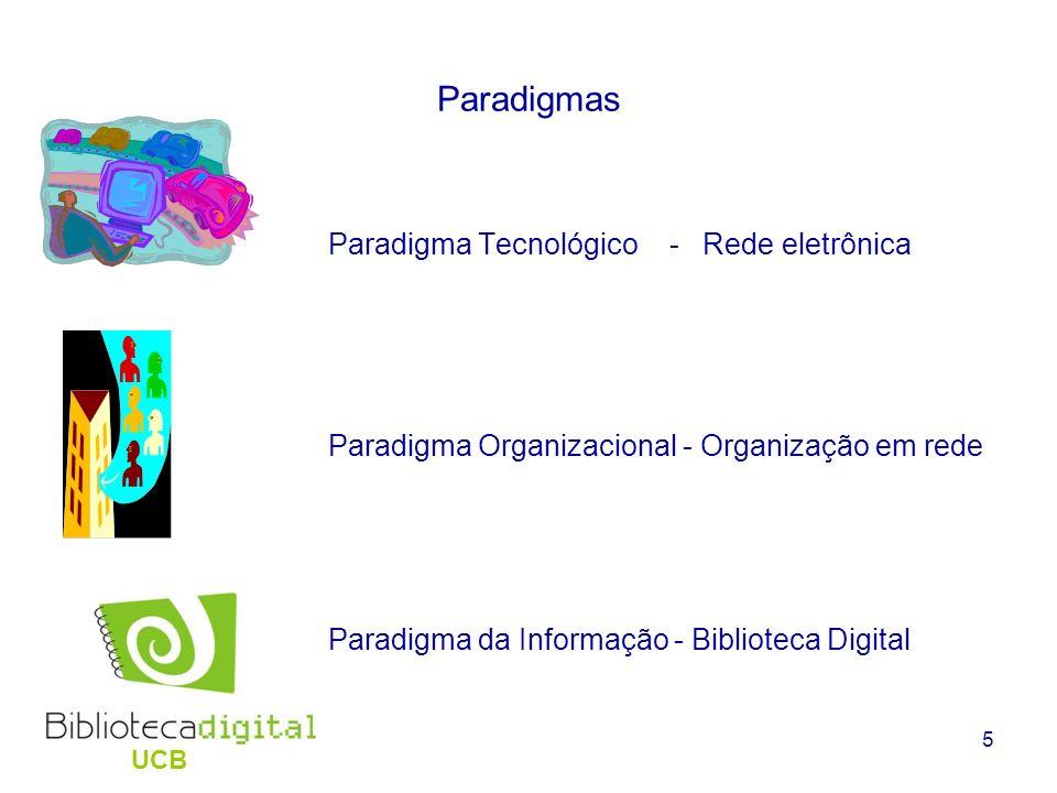 5 Paradigmas Paradigma Tecnológico - Rede eletrônica Paradigma Organizacional - Organização em rede Paradigma da Informação - Biblioteca Digital UCB