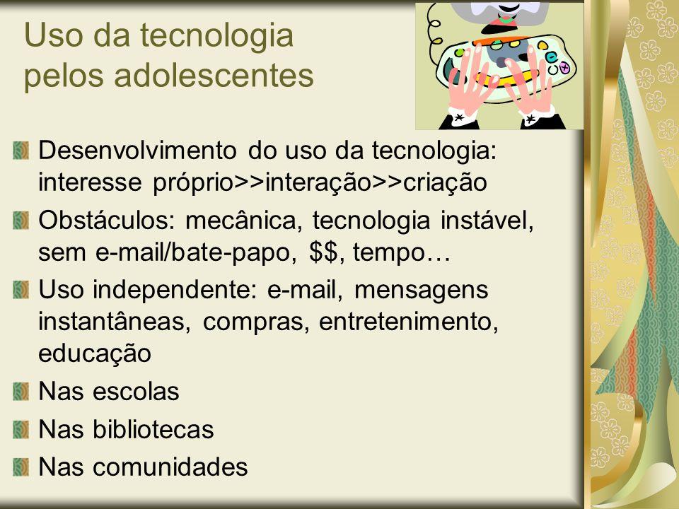 Uso da tecnologia pelos adolescentes Desenvolvimento do uso da tecnologia: interesse próprio>>interação>>criação Obstáculos: mecânica, tecnologia inst
