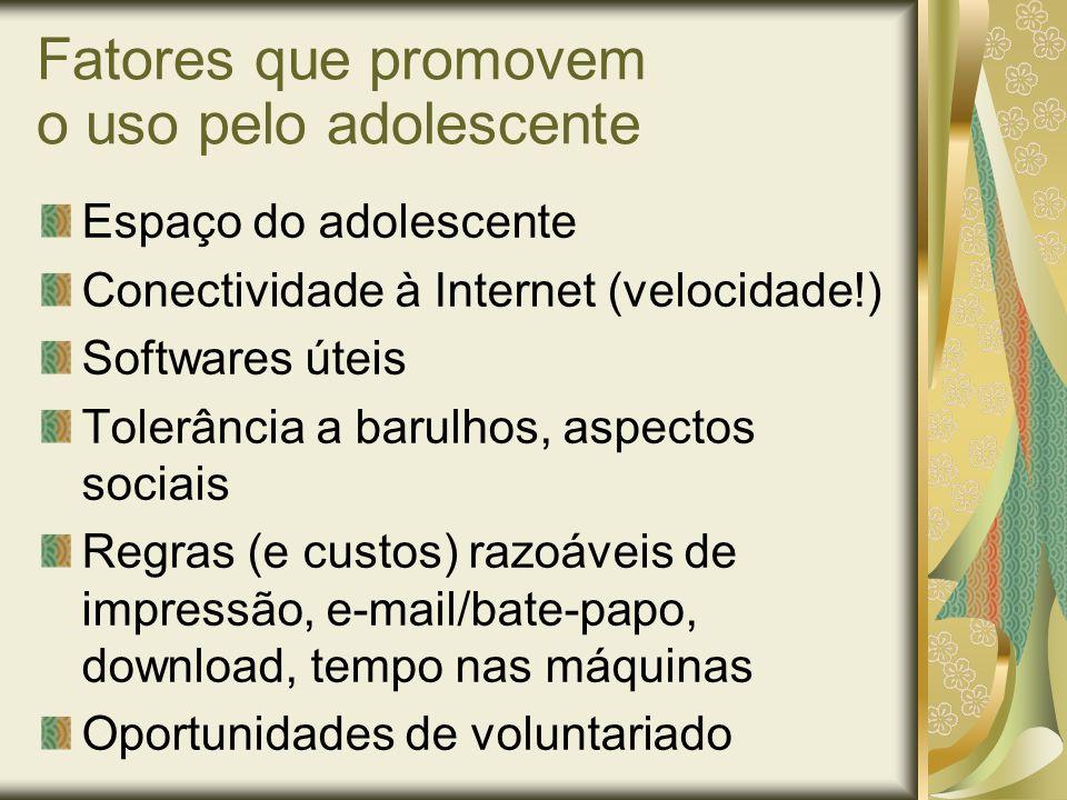 Fatores que promovem o uso pelo adolescente Espaço do adolescente Conectividade à Internet (velocidade!) Softwares úteis Tolerância a barulhos, aspect