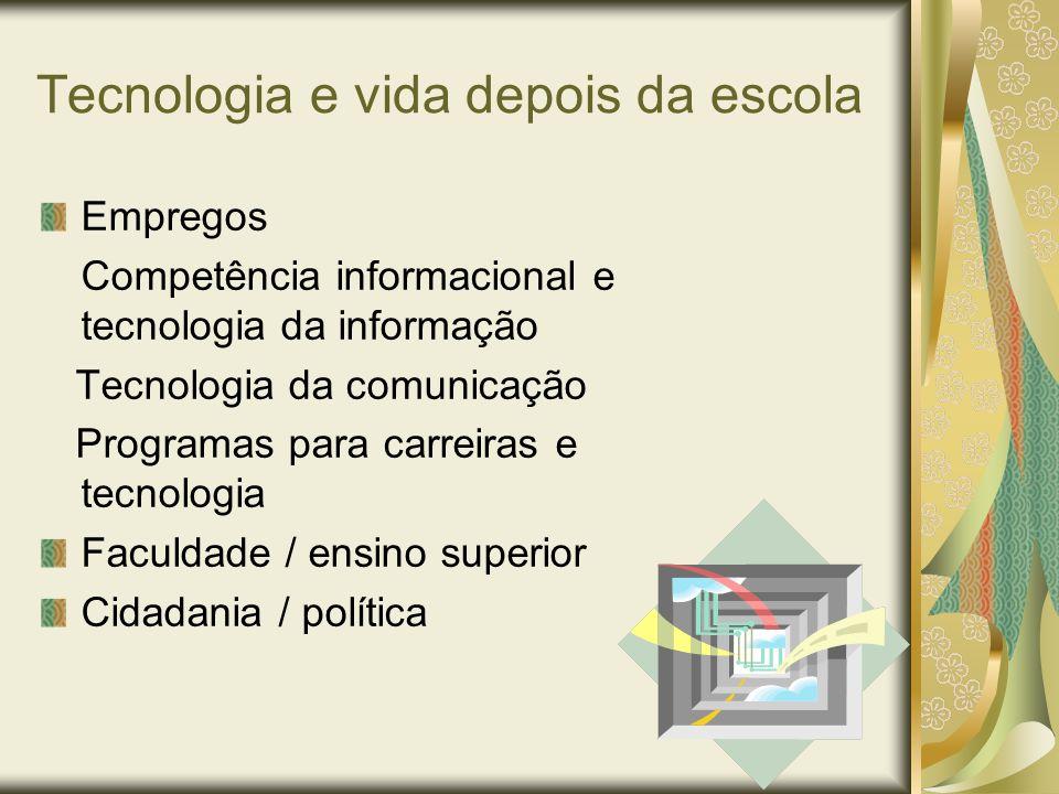 Tecnologia e vida depois da escola Empregos Competência informacional e tecnologia da informação Tecnologia da comunicação Programas para carreiras e