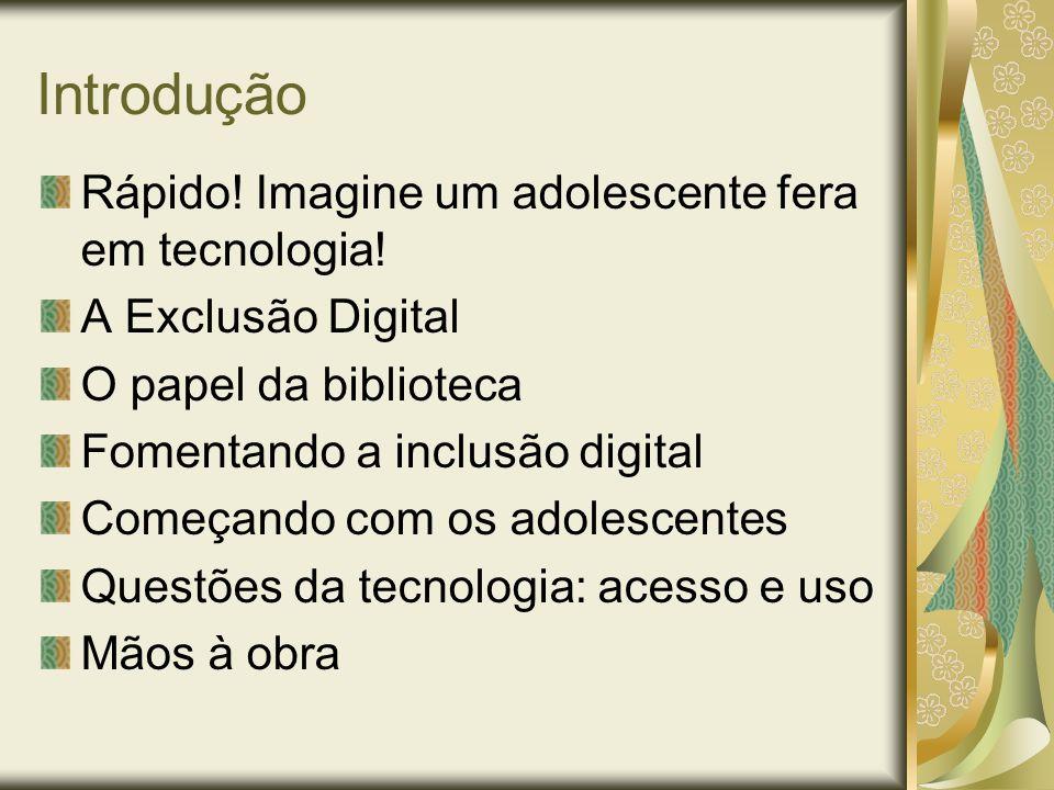 Introdução Rápido! Imagine um adolescente fera em tecnologia! A Exclusão Digital O papel da biblioteca Fomentando a inclusão digital Começando com os