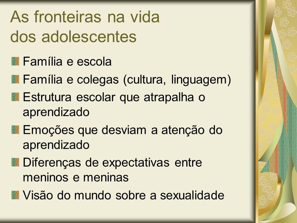 As fronteiras na vida dos adolescentes Família e escola Família e colegas (cultura, linguagem) Estrutura escolar que atrapalha o aprendizado Emoções q