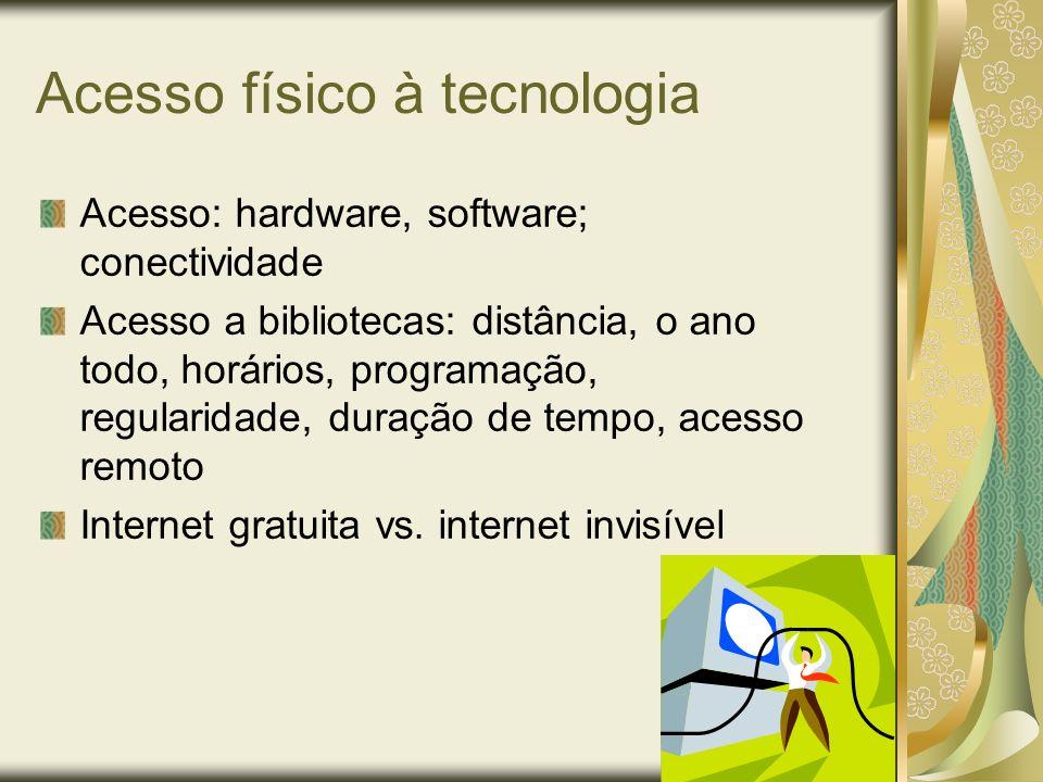 Acesso físico à tecnologia Acesso: hardware, software; conectividade Acesso a bibliotecas: distância, o ano todo, horários, programação, regularidade,