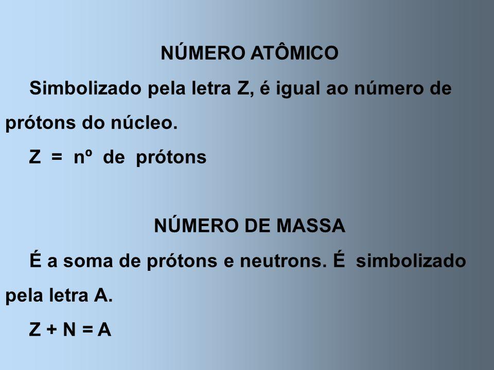 NÚMERO ATÔMICO Simbolizado pela letra Z, é igual ao número de prótons do núcleo. Z = nº de prótons NÚMERO DE MASSA É a soma de prótons e neutrons. É s
