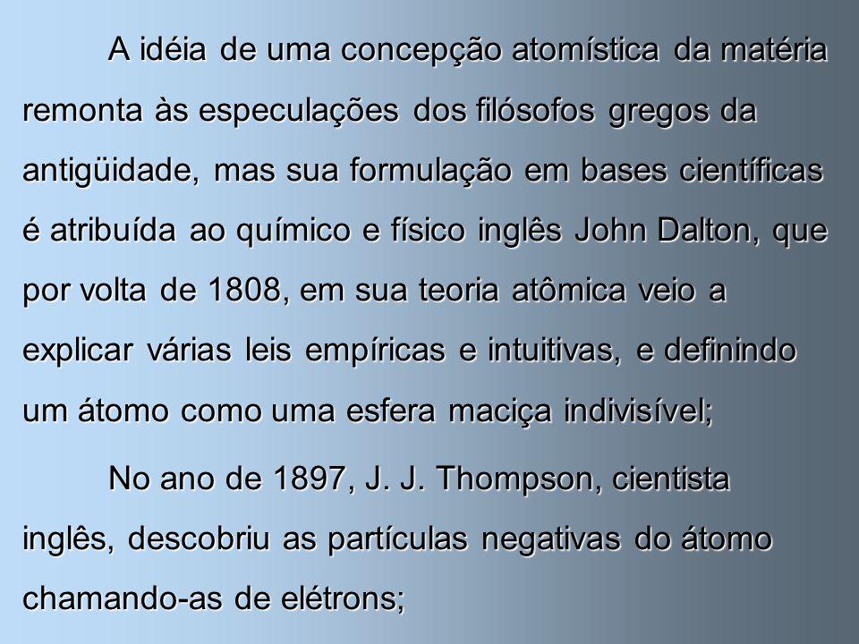 A idéia de uma concepção atomística da matéria remonta às especulações dos filósofos gregos da antigüidade, mas sua formulação em bases científicas é
