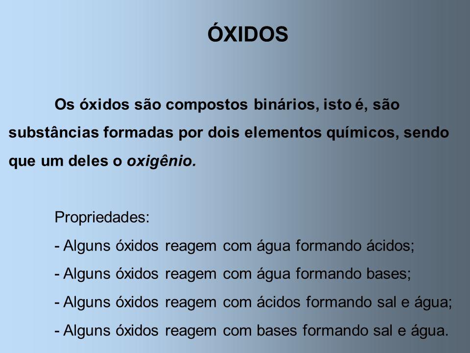 ÓXIDOS Os óxidos são compostos binários, isto é, são substâncias formadas por dois elementos químicos, sendo que um deles o oxigênio. Propriedades: -