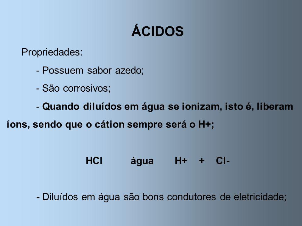 ÁCIDOS Propriedades: - Possuem sabor azedo; - São corrosivos; - Quando diluídos em água se ionizam, isto é, liberam íons, sendo que o cátion sempre se