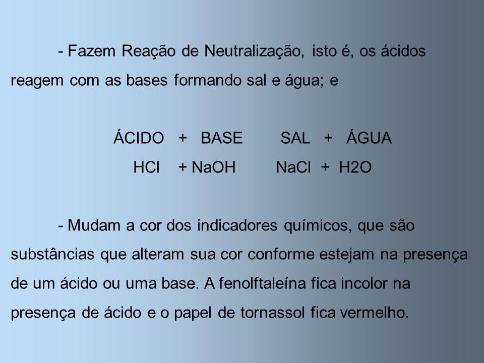 - Fazem Reação de Neutralização, isto é, os ácidos reagem com as bases formando sal e água; e ÁCIDO + BASESAL + ÁGUA HCl + NaOHNaCl + H2O - Mudam a co