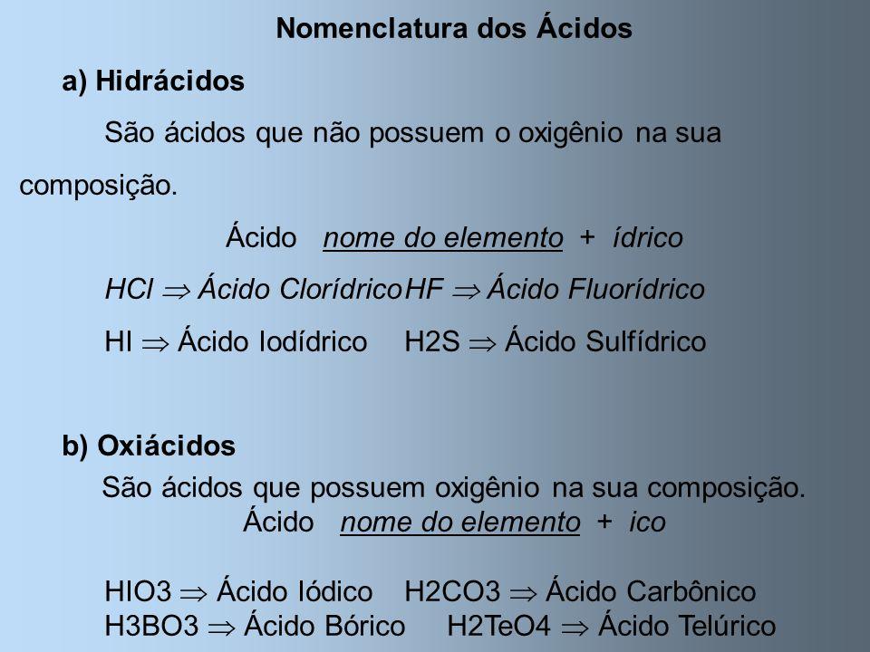 Nomenclatura dos Ácidos a) Hidrácidos São ácidos que não possuem o oxigênio na sua composição. Ácido nome do elemento + ídrico HCl Ácido ClorídricoHF
