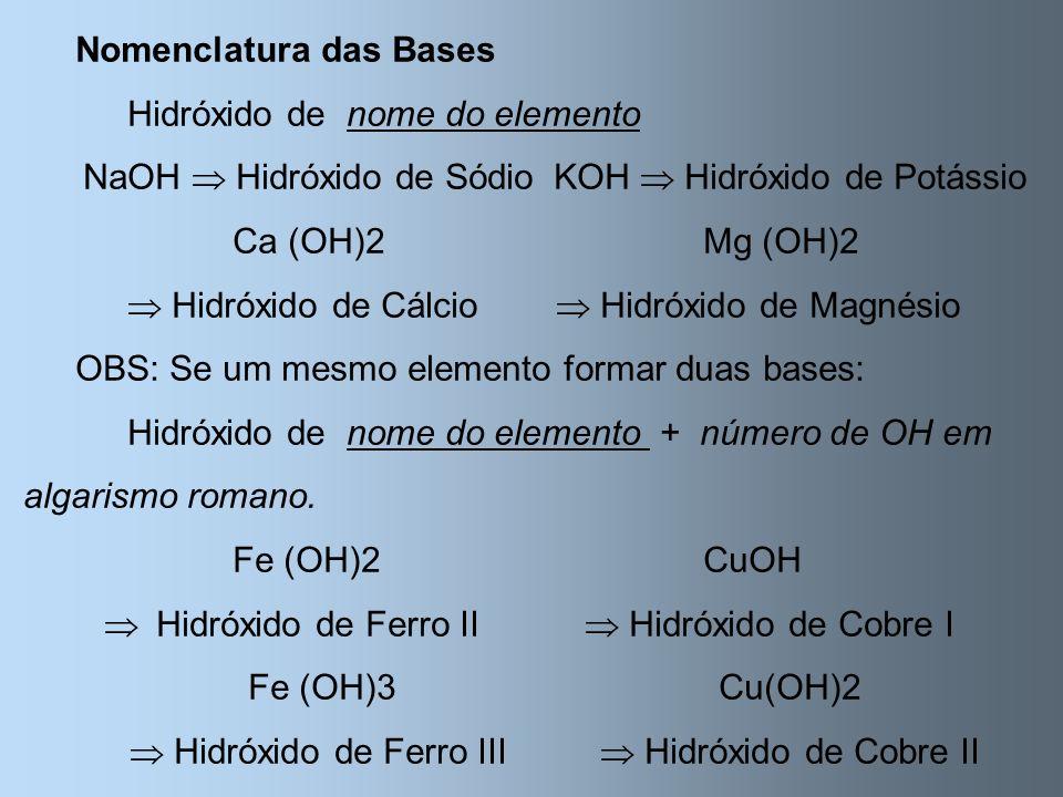 Nomenclatura das Bases Hidróxido de nome do elemento NaOH Hidróxido de SódioKOH Hidróxido de Potássio Ca (OH)2Mg (OH)2 Hidróxido de Cálcio Hidróxido d