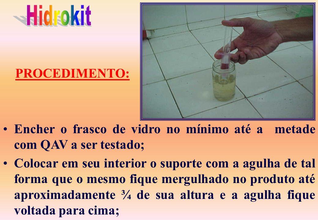 ESPECIFICAÇÃO: Um tubo de vidro contendo um pó reagente (sais de bário/ carbonato de bário); um frasco de vidro para a amostra do QAV; um suporte com