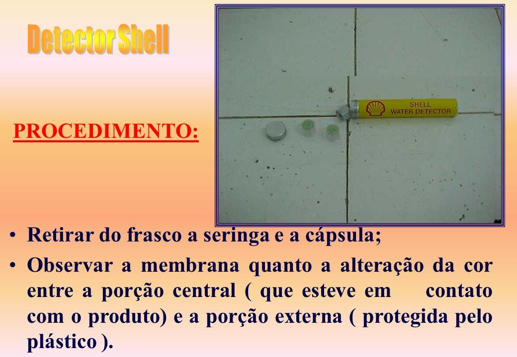 Adaptar a cápsula ao bico da seringa hipodérmica; Introduzir a cápsula e parte da seringa no interior do líquido amostrado no frasco; Aspirar 5cc da a