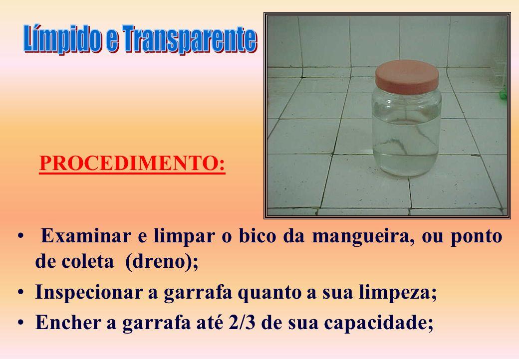 Um frasco de vidro incolor; Deverá Ter fundo claro; Não deve apresentar distorções óticas; Deve Ter boca suficientemente larga para acomodar o bico pe