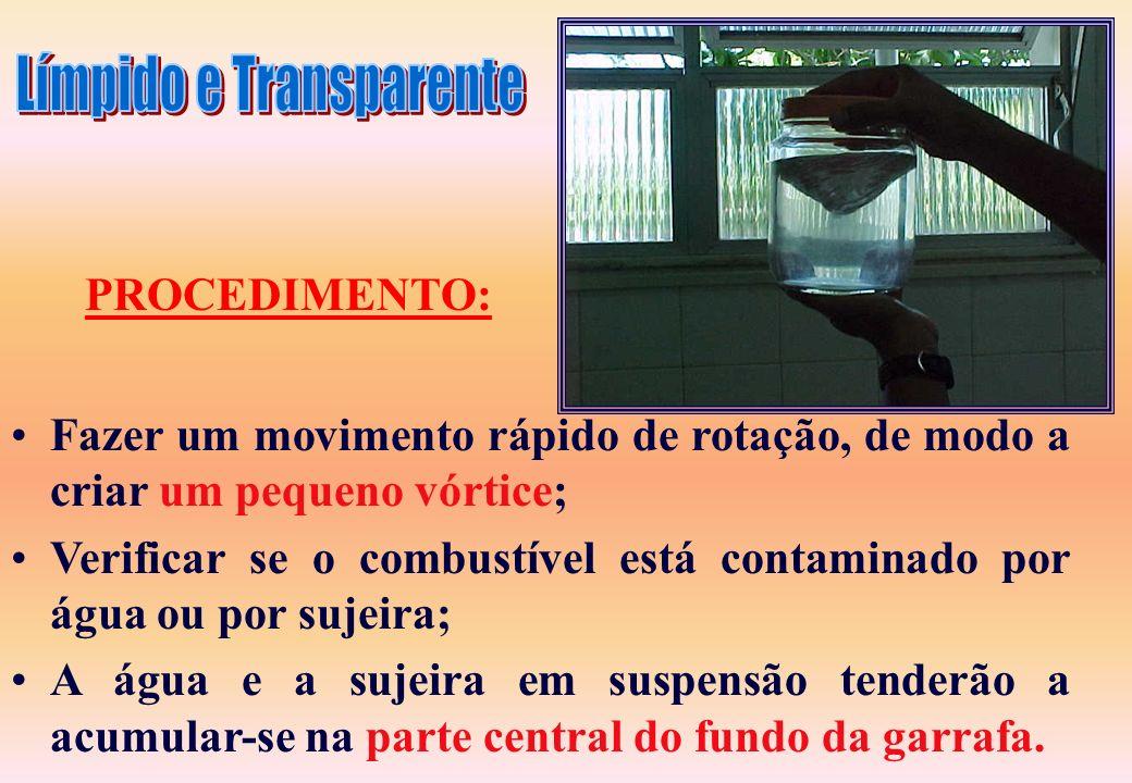Examinar e limpar o bico da mangueira, ou ponto de coleta (dreno); Inspecionar a garrafa quanto a sua limpeza; Encher a garrafa até 2/3 de sua capacid