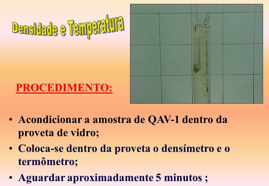 Um densímetro graduado de 0,750 a 0,850; Um termômetro; e Uma proveta com capacidade de 1000 mililitros. MATERIAL: