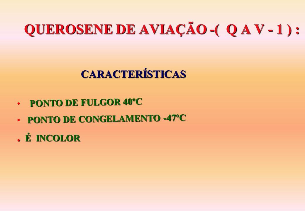 QUEROSENE DE AVIAÇÃO -( Q A V - 1 ) : QUEROSENE DE AVIAÇÃO -( Q A V - 1 ) : PONTO DE FULGOR 40ºC PONTO DE CONGELAMENTO -47ºC.