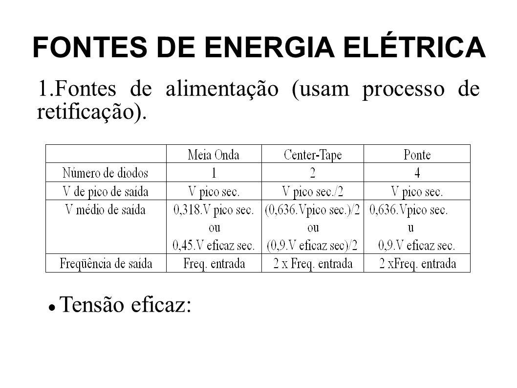 FONTES DE ENERGIA ELÉTRICA 1.Fontes de alimentação (usam processo de retificação).