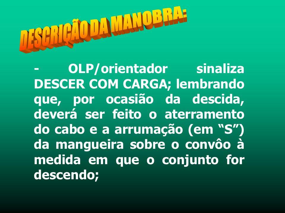- OLP/orientador sinaliza DESCER COM CARGA; lembrando que, por ocasião da descida, deverá ser feito o aterramento do cabo e a arrumação (em S) da mangueira sobre o convôo à medida em que o conjunto for descendo;