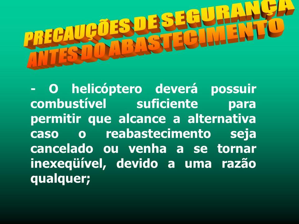 - O helicóptero deverá possuir combustível suficiente para permitir que alcance a alternativa caso o reabastecimento seja cancelado ou venha a se tornar inexeqüível, devido a uma razão qualquer;