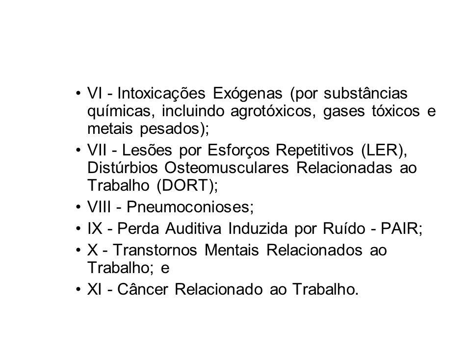 VI - Intoxicações Exógenas (por substâncias químicas, incluindo agrotóxicos, gases tóxicos e metais pesados); VII - Lesões por Esforços Repetitivos (L
