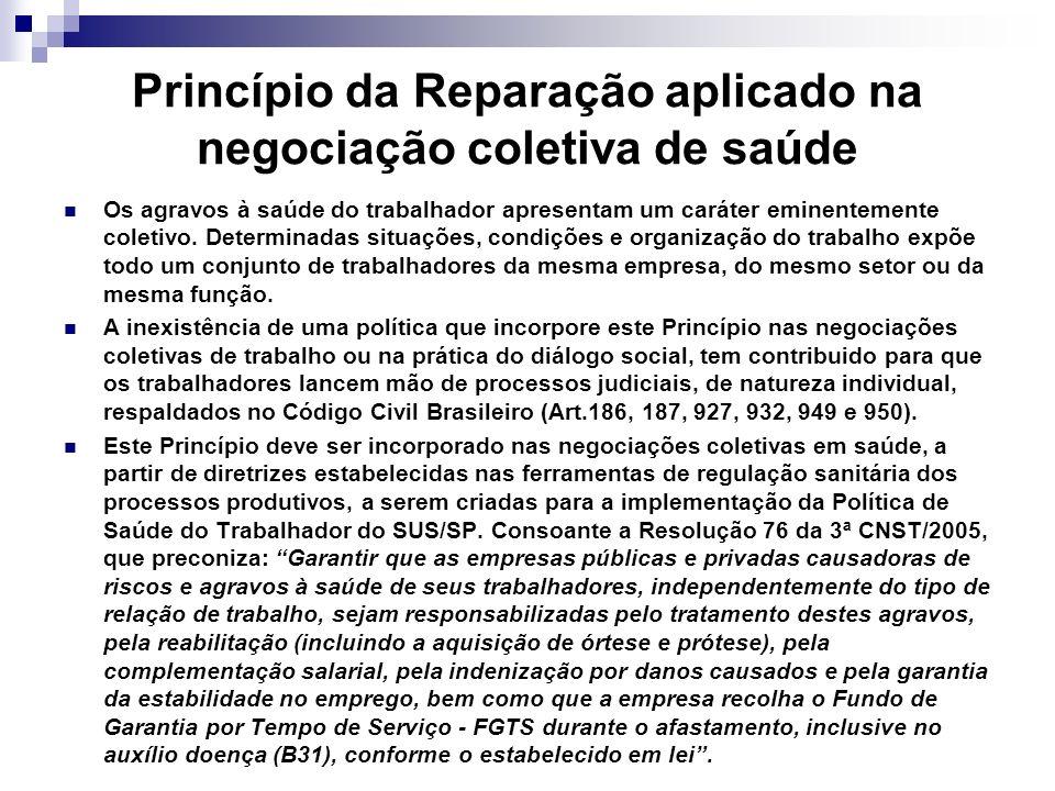Princípio da Reparação aplicado na negociação coletiva de saúde Os agravos à saúde do trabalhador apresentam um caráter eminentemente coletivo. Determ