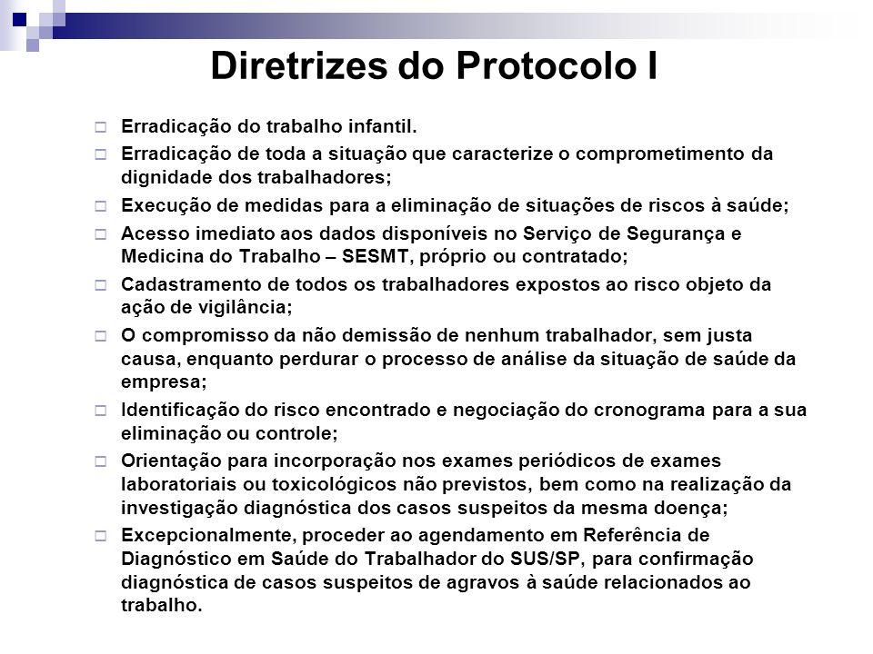 Diretrizes do Protocolo I Erradicação do trabalho infantil. Erradicação de toda a situação que caracterize o comprometimento da dignidade dos trabalha