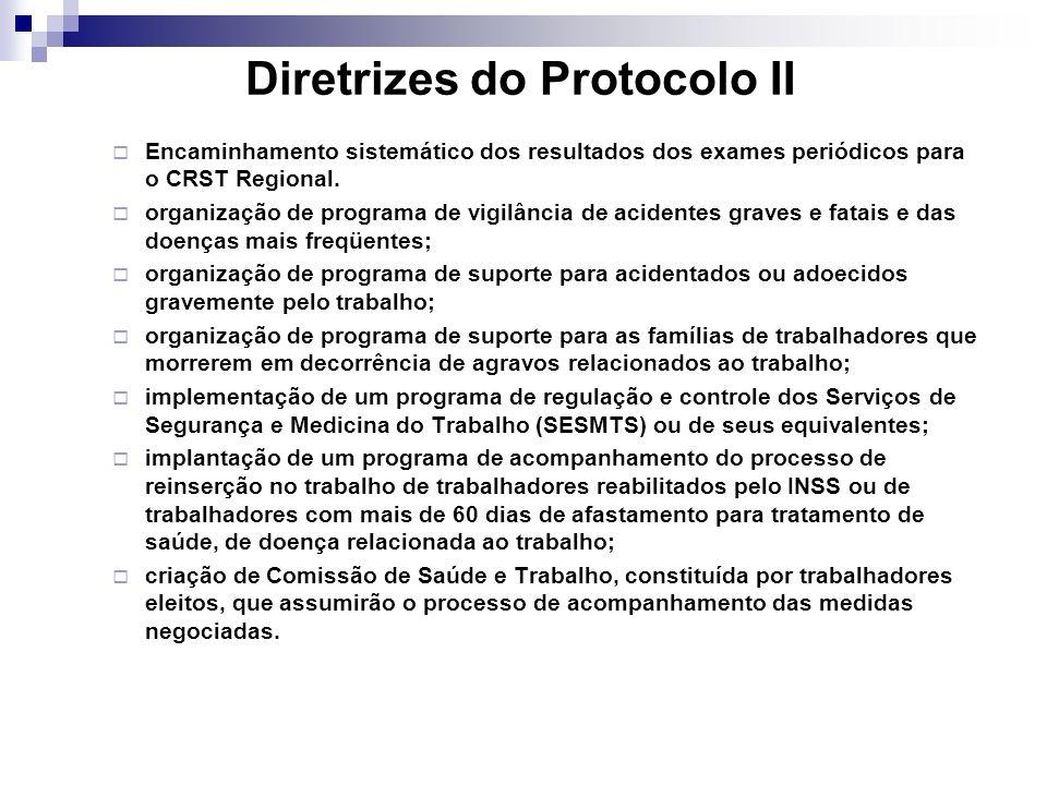 Diretrizes do Protocolo II Encaminhamento sistemático dos resultados dos exames periódicos para o CRST Regional. organização de programa de vigilância