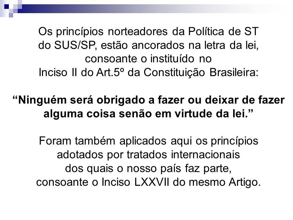 Os princípios norteadores da Política de ST do SUS/SP, estão ancorados na letra da lei, consoante o instituído no Inciso II do Art.5º da Constituição