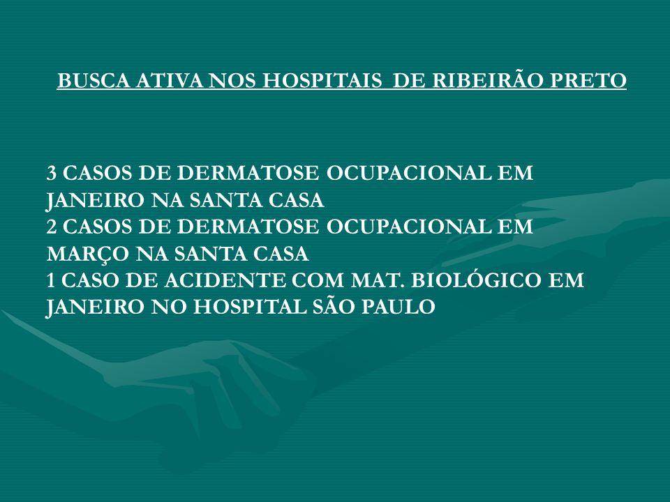 3 CASOS DE DERMATOSE OCUPACIONAL EM JANEIRO NA SANTA CASA 2 CASOS DE DERMATOSE OCUPACIONAL EM MARÇO NA SANTA CASA 1 CASO DE ACIDENTE COM MAT. BIOLÓGIC