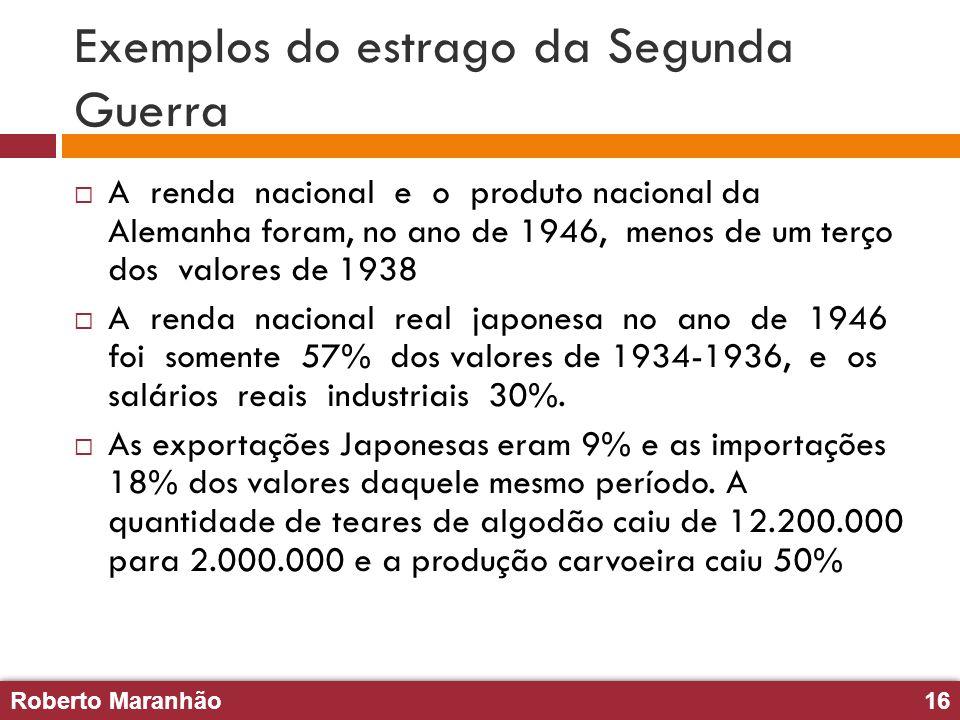 Roberto Maranhão16 Roberto Maranhão16 Exemplos do estrago da Segunda Guerra A renda nacional e o produto nacional da Alemanha foram, no ano de 1946, m