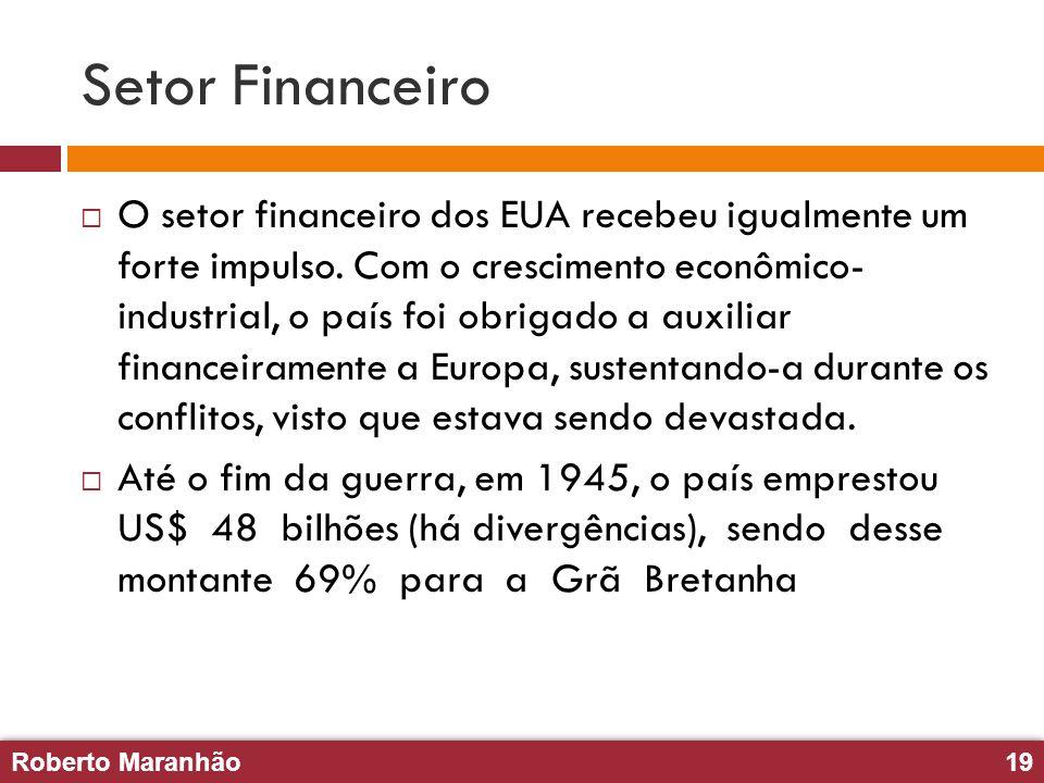 Roberto Maranhão19 Roberto Maranhão19 Setor Financeiro O setor financeiro dos EUA recebeu igualmente um forte impulso. Com o crescimento econômico- in