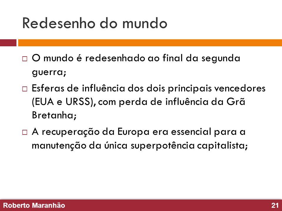 Roberto Maranhão21 Roberto Maranhão21 Redesenho do mundo O mundo é redesenhado ao final da segunda guerra; Esferas de influência dos dois principais v