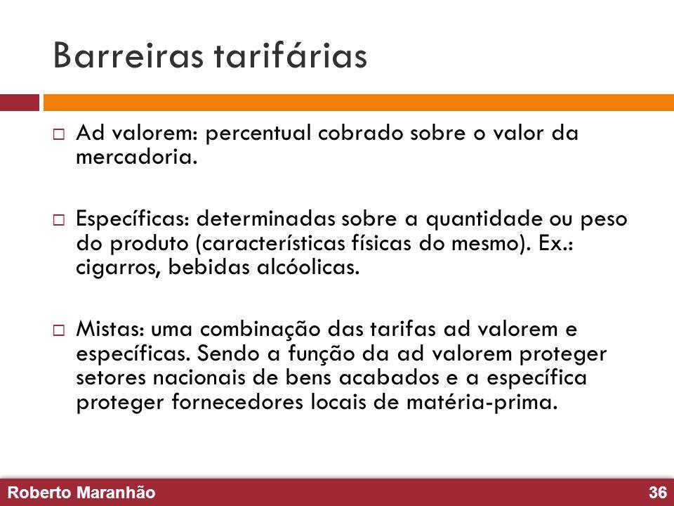 Roberto Maranhão36 Roberto Maranhão36 Barreiras tarifárias Ad valorem: percentual cobrado sobre o valor da mercadoria. Específicas: determinadas sobre