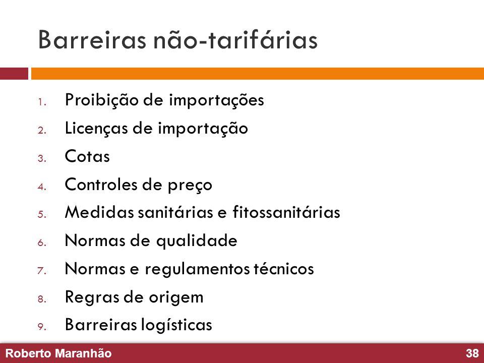 Roberto Maranhão38 Roberto Maranhão38 Barreiras não-tarifárias 1. Proibição de importações 2. Licenças de importação 3. Cotas 4. Controles de preço 5.