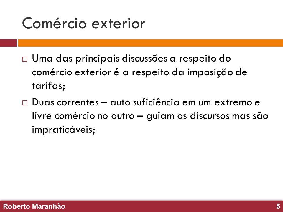 Roberto Maranhão5 Roberto Maranhão5 Comércio exterior Uma das principais discussões a respeito do comércio exterior é a respeito da imposição de tarif