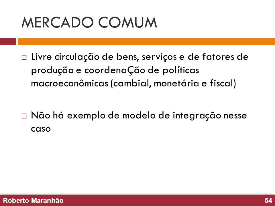 Roberto Maranhão54 Roberto Maranhão54 MERCADO COMUM Livre circulação de bens, serviços e de fatores de produção e coordenaÇão de políticas macroeconôm