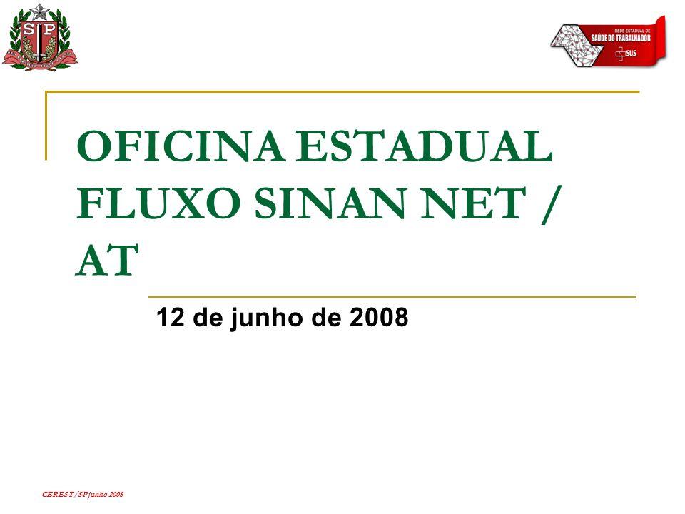 CEREST/SP junho 2008 OFICINA ESTADUAL FLUXO SINAN NET / AT 12 de junho de 2008