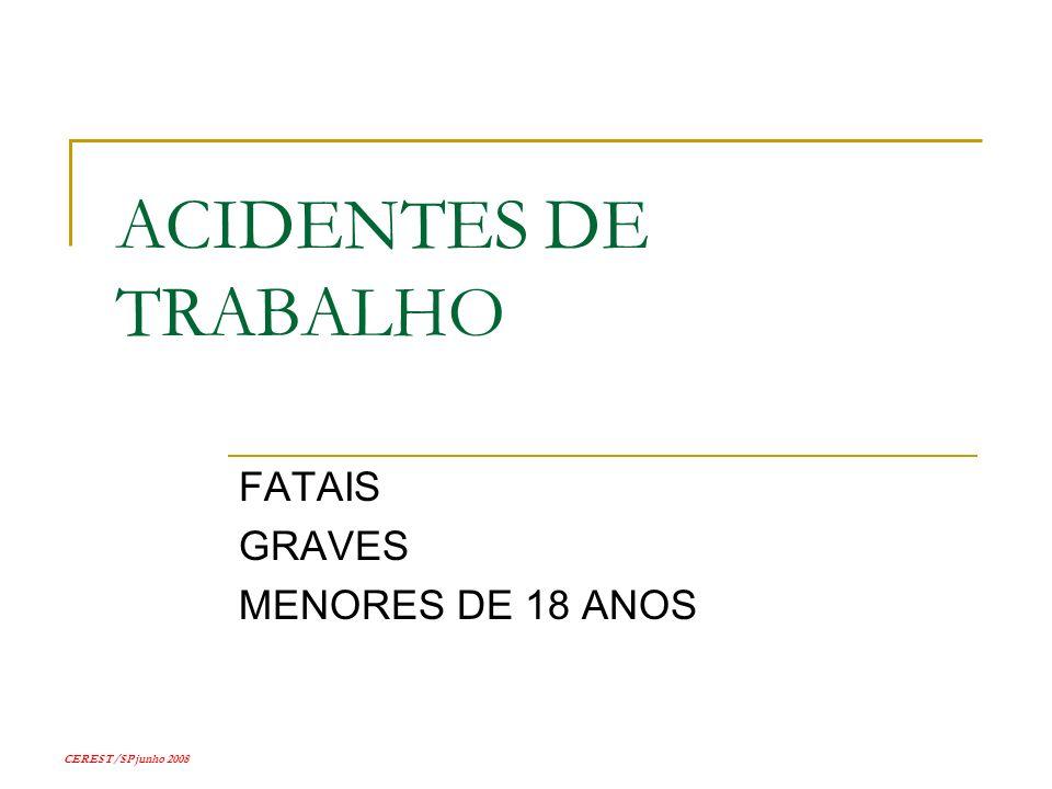 CEREST/SP junho 2008 ACIDENTES DE TRABALHO FATAIS GRAVES MENORES DE 18 ANOS
