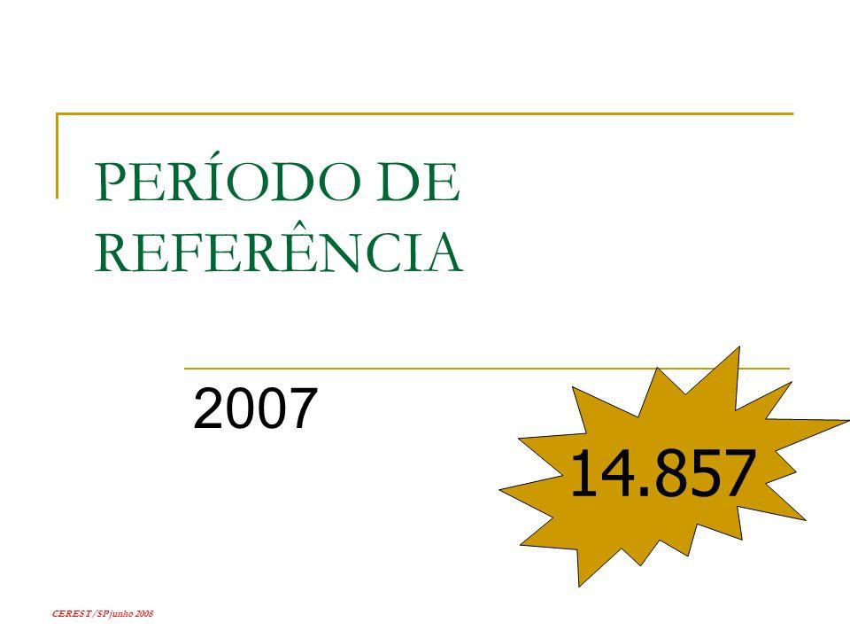CEREST/SP junho 2008 PERÍODO DE REFERÊNCIA 2007 14.857