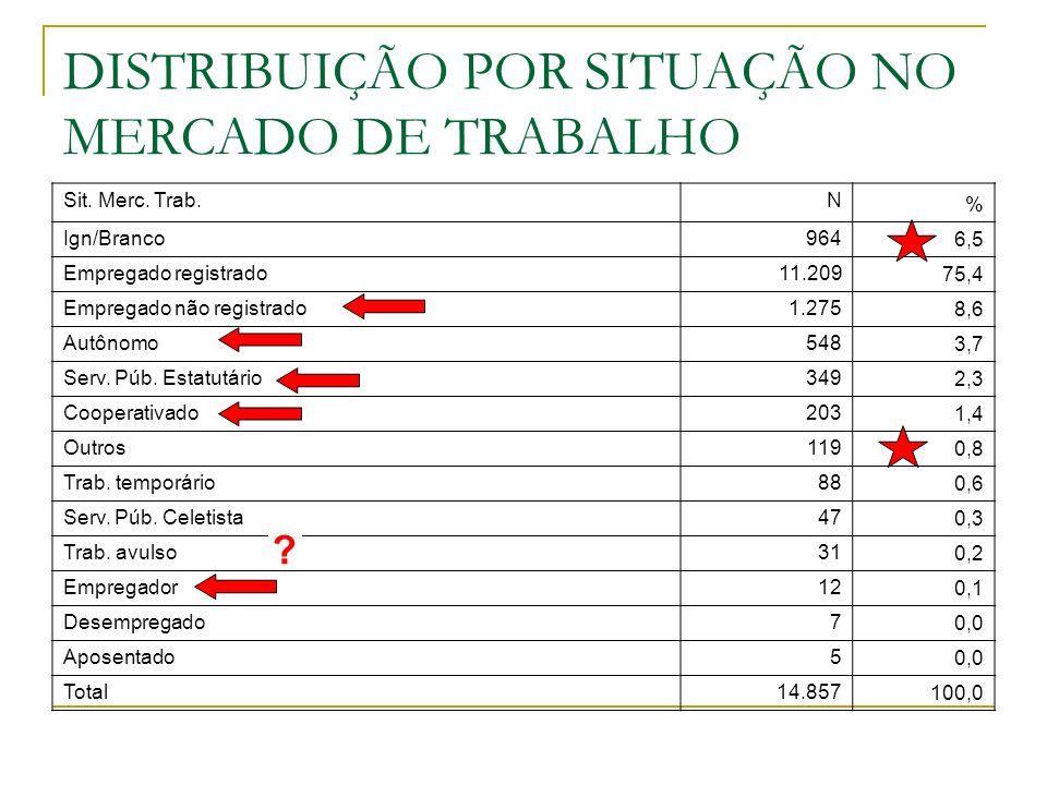 DISTRIBUIÇÃO POR SITUAÇÃO NO MERCADO DE TRABALHO Sit. Merc. Trab.N % Ign/Branco964 6,5 Empregado registrado11.209 75,4 Empregado não registrado1.275 8