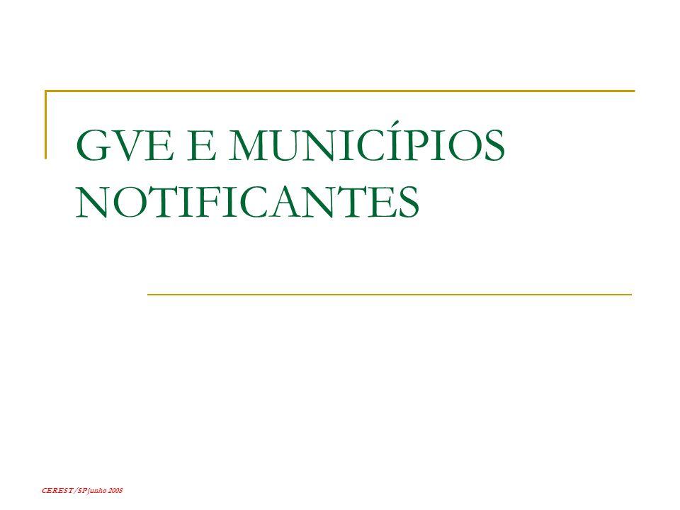 CEREST/SP junho 2008 GVE E MUNICÍPIOS NOTIFICANTES