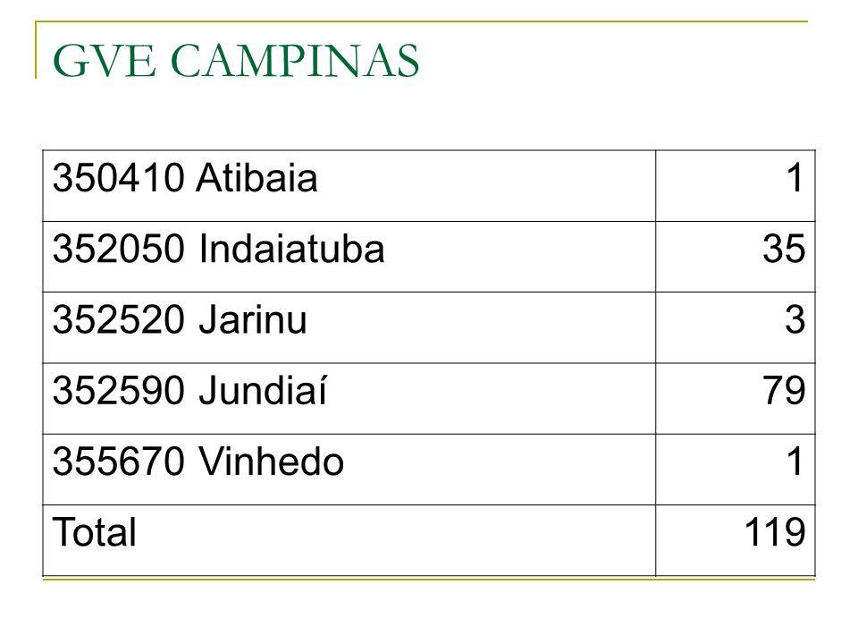GVE CAMPINAS 350410 Atibaia1 352050 Indaiatuba35 352520 Jarinu3 352590 Jundiaí79 355670 Vinhedo1 Total119