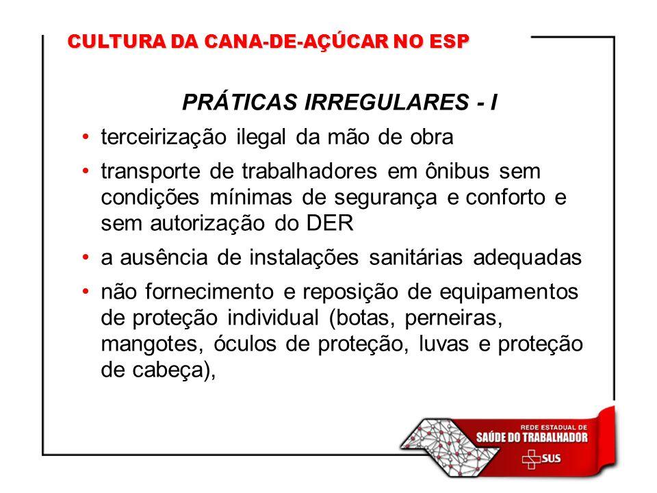 CULTURA DA CANA-DE-AÇÚCAR NO ESP PRÁTICAS IRREGULARES - I terceirização ilegal da mão de obra transporte de trabalhadores em ônibus sem condições míni