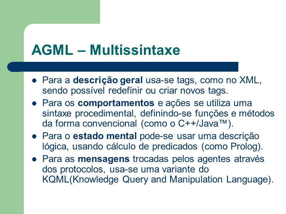 AGML – Multissintaxe Para a descrição geral usa-se tags, como no XML, sendo possível redefinir ou criar novos tags.