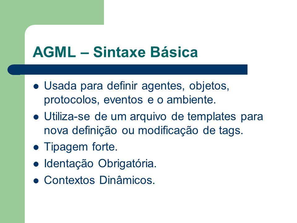 AGML – Sintaxe Básica Usada para definir agentes, objetos, protocolos, eventos e o ambiente.